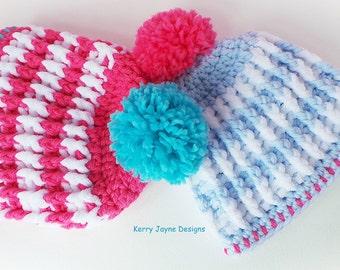 NORDIC RIDGE CROCHET Hat Pattern - Child sizes - Bobble hat pattern Beanie hat crochet pattern Winter hat pattern Usa crochet pattern No.23a