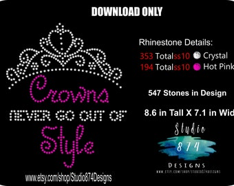 Rhinestone Transfer Template Pattern - Girls - Crowns Never Go out of Style -  DOWNLOAD STENCIL Pageant Girly Crown DIY- Sticky Flock