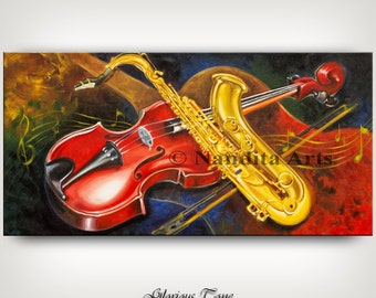 "Saxophone art, Violin art, MUSIC Art ""Glorious Tone"" Guitar Art, Abstract Modern Art, Artwork, Modern Art 60x30 Abstract fine art by Nandita"