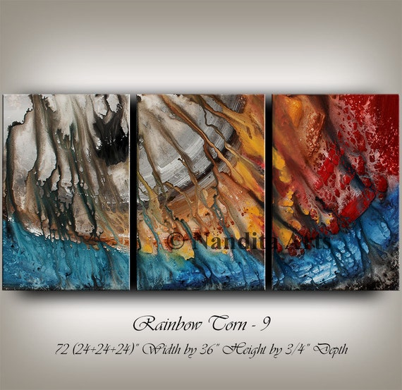 Large wall art abstract painting acrylic by for Modern art home decor etsy