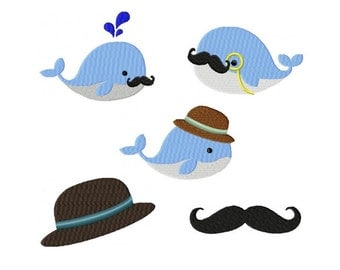 Embroidery Design Set gentleman whales  4'x4' - DIGITAL DOWNLOAD ARTICLE