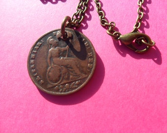 Antique British 1837 Original British coin Coin Necklace Antique King George IV British Empire British coin unusual unique gift for a woman