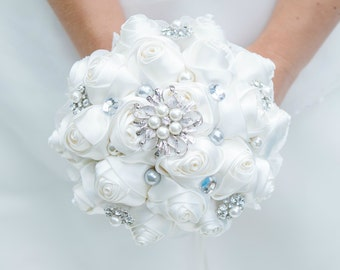 Brides Bridesmaids Brooch Bouquet Ref 1 Jewelled Wedding Posy Flowers Accessory Handmade Flowers Ivory