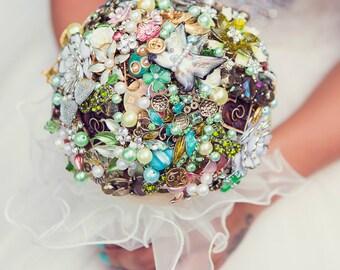 Custom Made Brides  Brooch Bouquet Jewelled Wedding Accessory Handmade Flowers Vintage Style Secret Garden