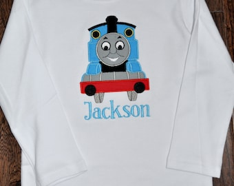 Inspired by Thomas The Train applique shirt with name