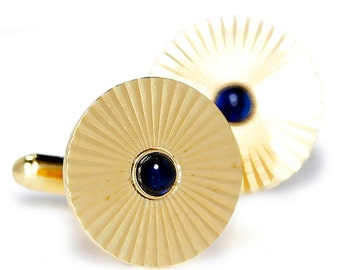 Vintage Men's Cuff Links with Cabochon Blue Sapphire's 14K Yellow Gold .30ctw