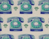 Cotton And Steel Telephones Aqua Trinket by Melody Miller