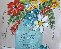 Garden Flag, Mason Jar, Spring Boutique, Home Decorations, Yard Art, Garden, Patio, Housewares, Hand-painted