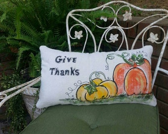 NEW Lumbar, Seasonal, Colorful Fall Pumpkins, Halloween, Holidays, Hand-painted, Pillow Cover