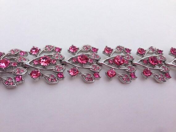 SALE Vintage Pink Rhinestone Panel Silver Tone Bracelet 8 Inch