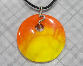 Yellow and Orange Necklace, Halloween, Fused Glass Pendant, Ready to Ship, Handmade Jewelry - Leila- 4278-5