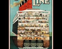 """11 x 14""""  premium Luster photo paper~ Cunard Line, To All Parts of the World - Vintage Travel"""