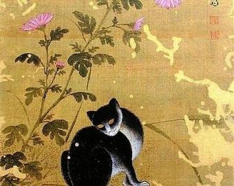 "cat on Autumn day, Korean art; Jeong Seon Chuil hanmyo, 11 X 14""  canvas art print"