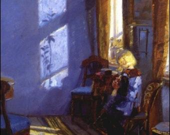 "Anna_Ancher Sunlight in a blue room. 11 X 14""  canvas art print"