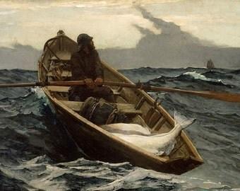 "Winslow Homer-The Fog Warning-1885 8x10"" premium poster paper art print, storm, sea, ocean, sailing"