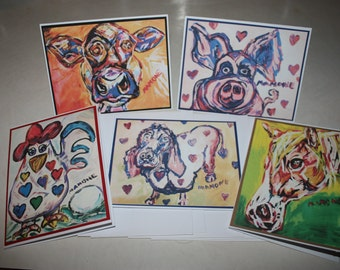 Whimsical Barnyard Animal Note Cards