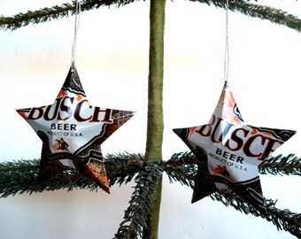 Recycled Busch Beer 2015 Camo Can Aluminum Stars - Set of 2 Christmas Ornaments
