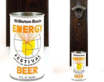 Wall Mounted Beer Bottle Opener With A 1981 Energy Festival Beer Can Cap Catcher - Boyfriend, Father's Day Or Groomsmen Gift Idea