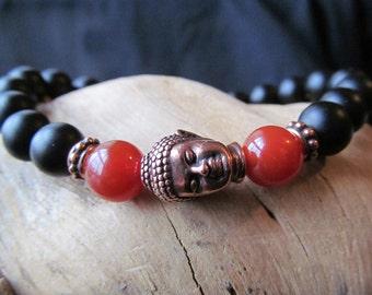 Onyx, Carnelian and Buddha Bracelet for Women or Men, Black Bracelet, Stacking,Beaded  Mens Jewelry,Yoga Bracelet, Spiritual Jewelry