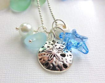 Starfish Sand Dollar  Sea Glass Necklace  Summer Beach Love