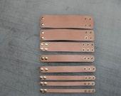 Blank Natural Tan Bracelet Plain Genuine Leather Wristband Adjustable Brass snaps Custom Cuff NY USA Bangle Thin to Thick widths Wholesale