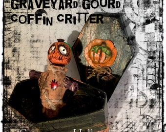 Graveyard Gourd Coffin Critters®-Black Orange, Hand Sculpted Pumpkin Scarecrow