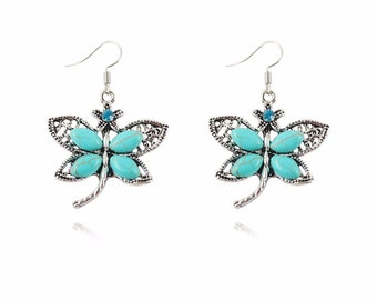 Butterfly turquoise earrings for women