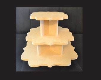 3 tier unpainted cupcake stand, cupcake holders, cupcake tower, cupcake stand, wedding cake stand, cupcake tower, F-8,11,14