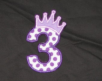Princess Birthday Number 3 Iron on No Sew DIY Embroidered Patch Applique