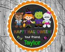 HALLOWEEN Label, PRINTABLE Halloween Treat Stickers, Halloween Treat Tags, Halloween Favors for Kids, Party Supplies Bags 2.5 inch Circle