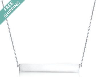 Sterling Silver Single Bar Necklace