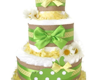 Bunny Diaper Cake, Spring Theme Baby Shower Centerpiece, Easter Decorations
