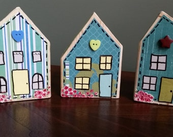 Wood Block Houses; Whimsical Cottage Houses; Housewarming Gift; Hostess Gift; Altered Wood Block