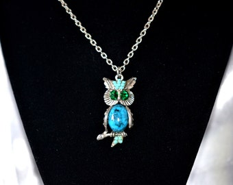 Vintage Necklace Silver Tone Owl Pendant with Faux Turquoise Body