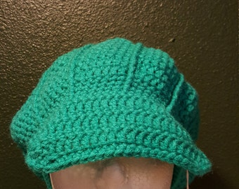 Newsboy beanie (paradise), newsboy cap, woman's hat, winter hat, paradise green