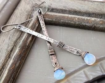 Long Hammered Sterling Silver Earrings, Sterling Silver Dangle Earrings, Modern Silver Bar Earrings, Long Gemstone Earrings