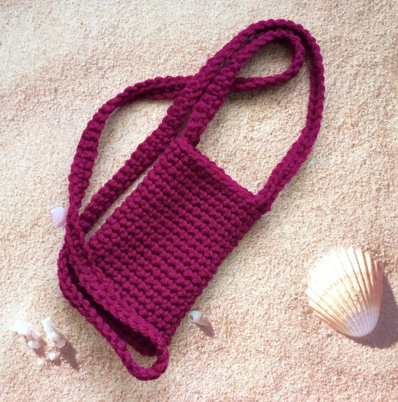 Crochet Cell Phone Purse : Crochet Phone Case, Cell Phone Purse in Berry, More Colors Available