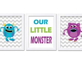 Monsters Nursery Art Set of 3 Prints Our Little Monster Blue Green Purple Grey Chevron Child Art Kids Room Wall Art Baby Boy Decor Baby
