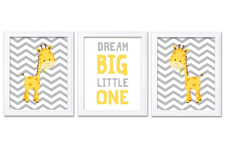 Giraffe Nursery Art Set of 3 Print Yellow Grey Gray Dream Big Little One Child Kid Room Wall Decor A