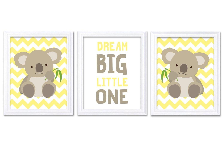 Koala Nursery Art Set of 3 Print Yellow Grey Gray Dream Big Little One Child Kid Room Wall Decor Aus