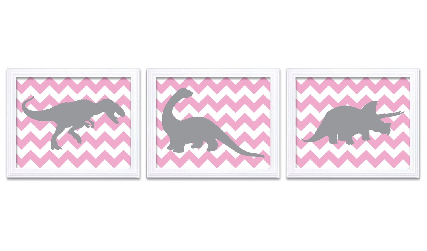Dinosaur Nursery Art Dinosaurs Print Set of 3 Prints Pink Gray Grey Chevron Tyrannosaurus Rex Tricer