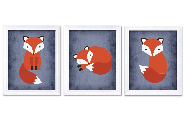 Fox Nursery Art Set of 3 Prints Red Orange Navy Blue Parchment Child Kid Boy Room Wall Decor Woodlan