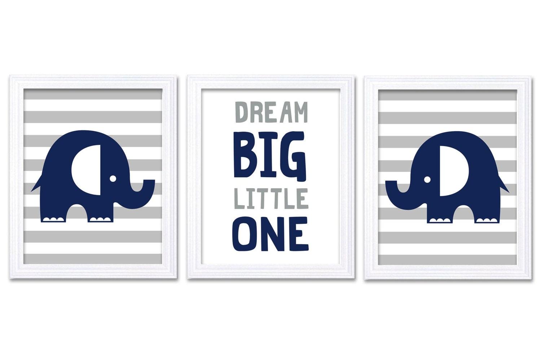 Navy Blue Grey Elephant Nursery Art Dream Big Little One Set of 3 Prints Stripes Child Art Kids Room