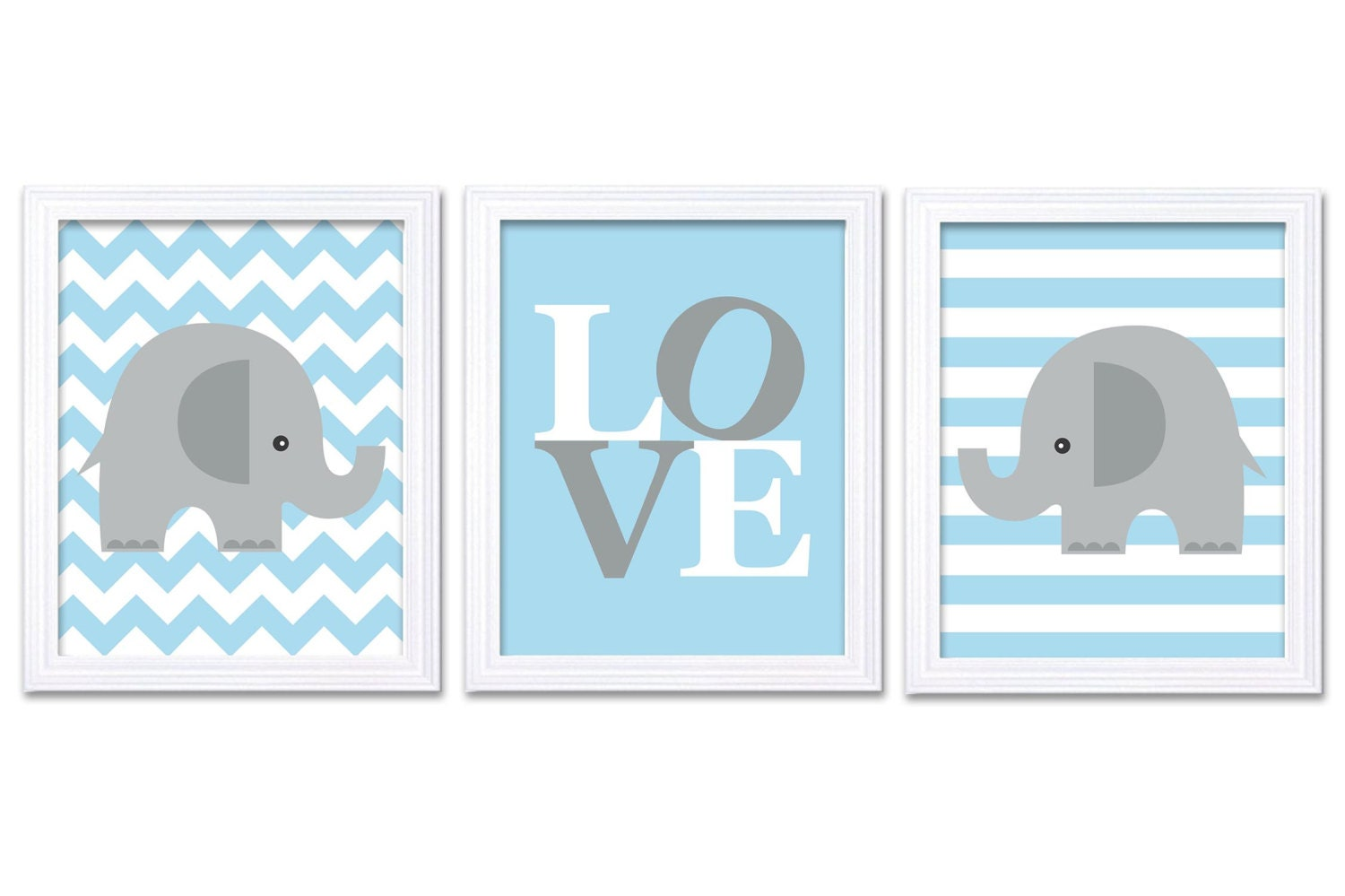 Blue Gray Grey Elephant Nursery Art LOVE Set of 3 Prints Stripes Chevron Child Art Kids Room Wall Ar