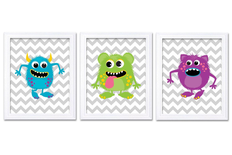 Monster Nursery Art Set of 3 Prints Blue Green Purple Grey Chevron Child Art Kids Room Wall Art Baby