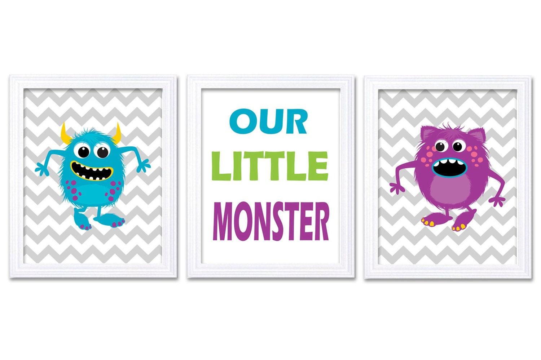 Monsters Nursery Art Set of 3 Prints Our Little Monster Blue Green Purple Grey Chevron Child Art Kid