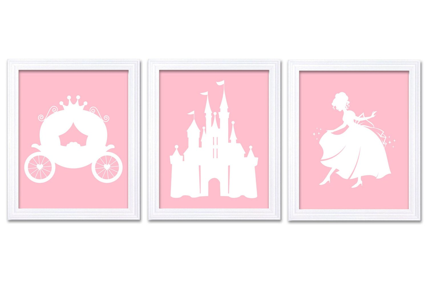 Pink White Princess Nursery Art Set of 3 Prints Child Art Kids Room Wall Art Baby Girl Decor Baby Ca