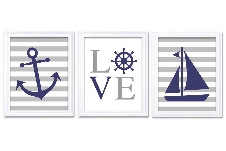 Navy Blue Gray Grey Nautical Nursery Art LOVE Set of 3 Prints Stripes Child Art Kid Room Wall Art Ba