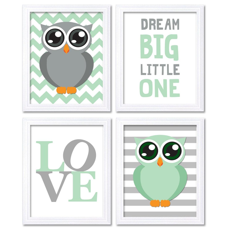 Mint Green Grey Owl Nursery Art Set of 4 Prints LOVE Dream Big Little One Stripes Chevron Baby Child