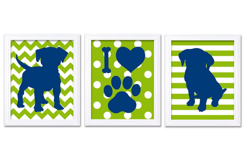 Puppy Dog Nursery Art Puppy Prints Set of 3 Prints Navy Blue Lime Green Stripes Polka Dots Chevron B